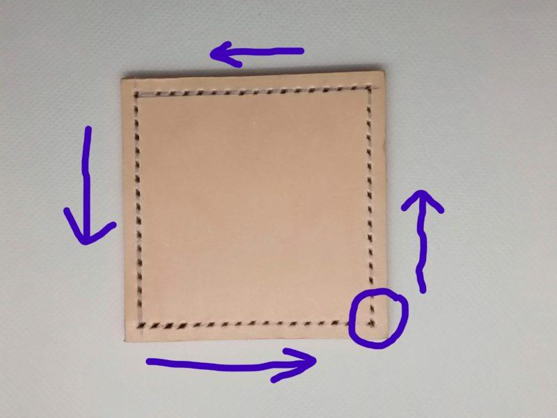 コースターの縫い穴と縫う方向の説明