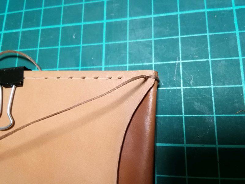 定期入れの縫いはじめ 2