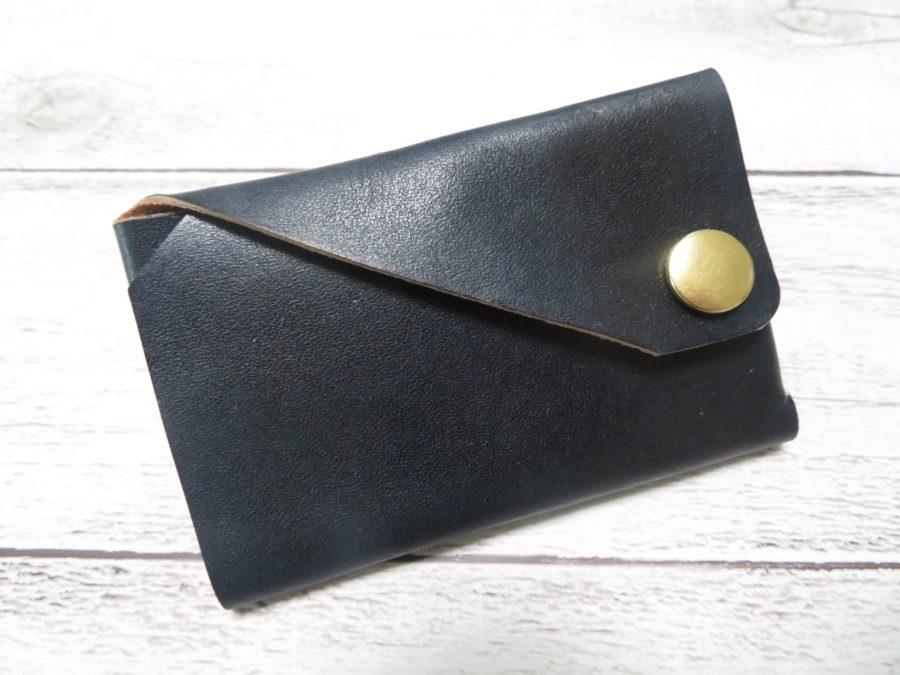 ネイビーに染めたミニ財布